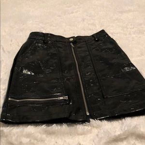 Shiny leather zippered mini skirt from UO - size S